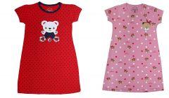 Buy 1 Get 1 Babydoll Printed Girls Kids Nightdress |Super Soft Nightwear | Cotton Hosiery Red & Pink