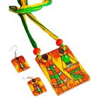 Handpainted Ceramic Pendant And Earrings Use For Women And Girls