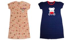 Baby Doll Girl's Cotton Hosiery Super Soft Printed Nighty (Blue and Peach)