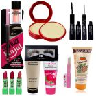 Peach Eyeshadow Shimmer Dust, Compact Powder, Kajal, multicolor Lipstick, Foundation, Hair Remover, Eyelash, Pink Lipbalm, Scrub and 2 in 1 Eyeliner & Mascara