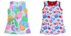 Hydes Buy One Get One Offer Printed Girls Kids Nighty Nightdress Super Soft Nightwear Cotton Hosiery One Piece Buy 1 Get 1 Age 2, 3, 4, 5, 6