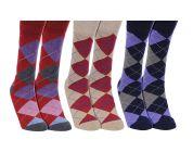 Men's Full Argyle Socks Classic Collection (Pack of 3)