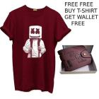 Men Cotton Printed Round Neck Tees T-Shirt With Wallet (Maroon)
