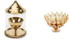 DECORATE INDIA Small Brass Akhand Diya With Small Crystal Diya  (Height: 4 Inch) (Pack of 2)