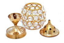 DECORATE INDIA Pure Brass Small Matki Crystal Akhand Table Diya Set (Height: 4.5 Inch) (Pack of 1)