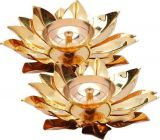 DECORATE INDIA Pure Brass and Copper Kamal Style Brass Akhand Diya Table Diya (Pack of 2)
