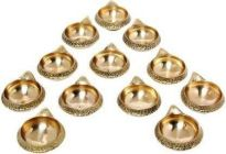 DECORATE INDIA Brass Kuber Akhand Diya For Pooja and Diwali Festival (Height: 1 Inch) (Pack of 12)