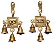 DECORATE INDIA Shubhlabh Hanging Bells Showpiece For Pooja and Prayer (15 cm) (Pack of 1)