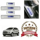 Premium Quality Car Door LED Sill Scuff Plate Foot Steps For Ford Ecosport (Color-Blue) (Set of 4 Pcs)