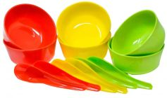 Mand Plastic Bowls Set For Snacks Soup Large Big Size With Spoons (Multi-Color) (Pack of 12)