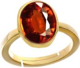 Jewelzon Hessonite Garnet Gomed6.5cts or 7.25ratti Panchdhatu Ring For Female | Adjustable | Metal Garnet | Gold Plated Ring