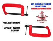 Heavy Duty Alloy Steel G Clamp, C Clamp 200mm (8 inch) (Pack of 2)
