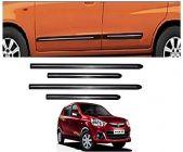 After Cars Maruti Suzuki Alto K10 Car Black Side Beading with Chrome Line Set of 4