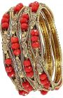 Haute Fashion Traditional Gold Plated Red Crystal Stones Bangles For Women (Pack of 4)-ARO-19
