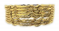 Haute Fashion Round Shape Gold Plated Bangles or Kada for Women (Pack of 8)