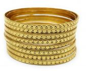 Haute Fashion Daily Wear Gold Plated Bangles for Women (Pack of 8) (Size 2/8)