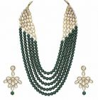 CATALYST-5 Layer Mother-of-pearl and Kundan Necklace Jewellery Set With Earrings For Women (Green)
