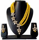 CATALYST Stylish and Designer Pearl Necklace Jewellery Set With Earrings For Women (Yellow)
