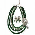CATALYST 18K Stone & Pearl Necklace Jewellery Set With Earrings For Women (Multi-Color)