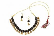 CATALYST Gold Plated Oxidised Polish Metal Necklace Jewellery Set With Earrings For Womens (Black)
