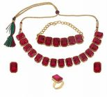 CATALYST Gold Plated Stylish Stones Studded Necklace Set, Bracelet, Finger Ring For Womens (Red)
