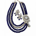 CATALYST Stylish and Designer Pearl Necklace Jewellery Set With Earrings For Women (Blue)