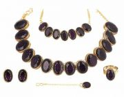 CATALYST Gold Plated Stylish Stones Studded Necklace Set, Bracelet, Finger Ring For Womens (Wine)