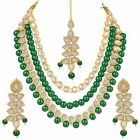 CATALYST 3 Layer Pearl Necklace Jewellery Set With Earrings For Women (Green)