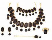 CATALYST Gold Plated Stylish Stones Studded Necklace Set, Bracelet, Finger Ring and Mang tika Set For Women (Black)