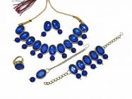 CATALYST Gold Plated Oval Stones Studded Necklace Set, Bracelet, Finger Ring For Womens (Blue)