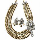 CATALYST 4 Layer Pearl and Stone Necklace Jewellery Set With Earrings For Women (Golden)