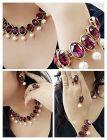 CATALYST Glass Base Metal Necklace, Bracelet, Finger Ring And Mang Tika For Women & Girls (Maroon)