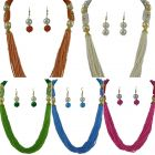 CATALYST Antique Kundan Multistrand Beaded Necklace Set With Drop Earrings For Women and Girls (Multi-Color) (Pack of 5)