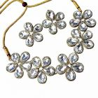 Catalyst Stylish Stone Necklace Set With Earrings For Women (Silver)