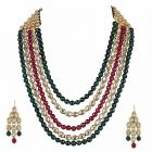 CATALYST Stylish Kundan and Pearl Necklace Set With Earrings For Women (Multi-Color)