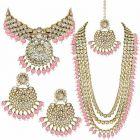 CATALYST Pearl and Kundan Choker Set, Earrings & Maang Tikka Jewellery Set For Womens (Light Pink)