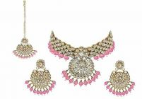 CATALYST Stylish, Traditional and Designer Choker Gold Plated Kundan Necklace With Earrings & Maang Tikka For Womens
