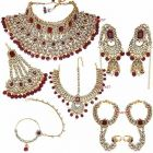 CATALYST Gold Plated and Kundan Jewellery Set For Women (Maroon)