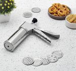 Mummy High-Quality Stainless Steel Kitchen Press   Noodles   Murukku Maker With 15 Attachment Blade (Silver) (Pack of 1)