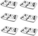 Apro High Quality Stainless Steel Dinner Plate-Thali With Rectangle Compartments For Lunch And Dinner (Silver) (Pack of 6)
