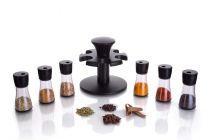 Apro High-Quality Multipurpose Revolving Plastic Spice Rack Condiment Set (Black) (Pack of 6)