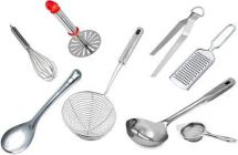 Apro High Quality Stainless Steel Kitchen Tool Set (Ladle, Masher, Blender, Tong, Spoon, Tea Strainer, Grater and Poori Fryer) For Kitchen Use (Pack of 8)
