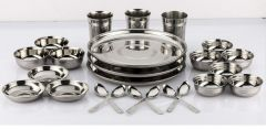 Online Hub High-Quality Stainless Steel Dinner Set (Silver) (Pack of 24)
