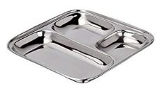 Apro High Quality Stainless Steel 3 Compartment Rectangle Plate (Silver) (Pack of 1)