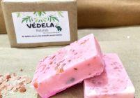 VEDELA Naturals presents Handmade Soap  sea salt soap   exfoliating soap  shea & sea salt   essential oil Rose Spa Bar 75grm pack of 2