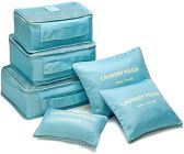 Homeoculture Polyester & Nylon Bag Organizers (Sky Blue) (Set Of 6)