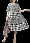 Bagrecha Creations Orry Western Mix-Rayon Digital Print Knee-Length Dress for Women - White/Black