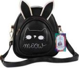 Women, Girls Backpack Bags with Meow Design of PU Leather Fabric for School, College Tution (Black) (Pack of 1)