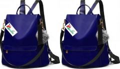 Women, Girls Backpack Bags of PU Leather Fabric for School, College Tution (Blue) (Pack of 2)