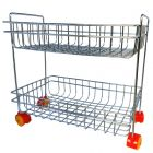 Vaishvi Fruit & Vegetables Kitchen Trolly Multipurpose Stainless Steel 2 Layer Portable Storage Rack Basket   Trolley with Wheels   Vegetable Trolley for Kitchen